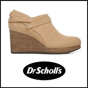 NWT DR SCHOLLS WHATS GOOD Vegan Suede Wedge Bootie